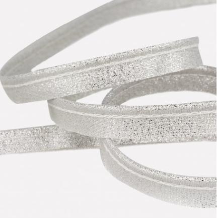 Passepoil métallisé 10 mm argenté lurex