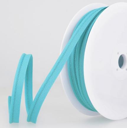 Passepoil tout textile 10 mm Bleu turquoise