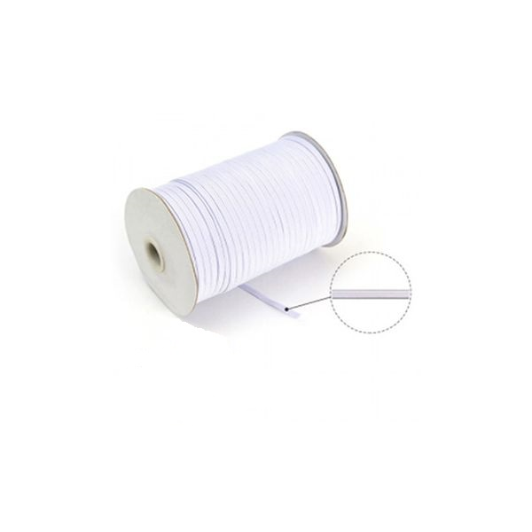 Elastique gomme souple 3 mm Blanc