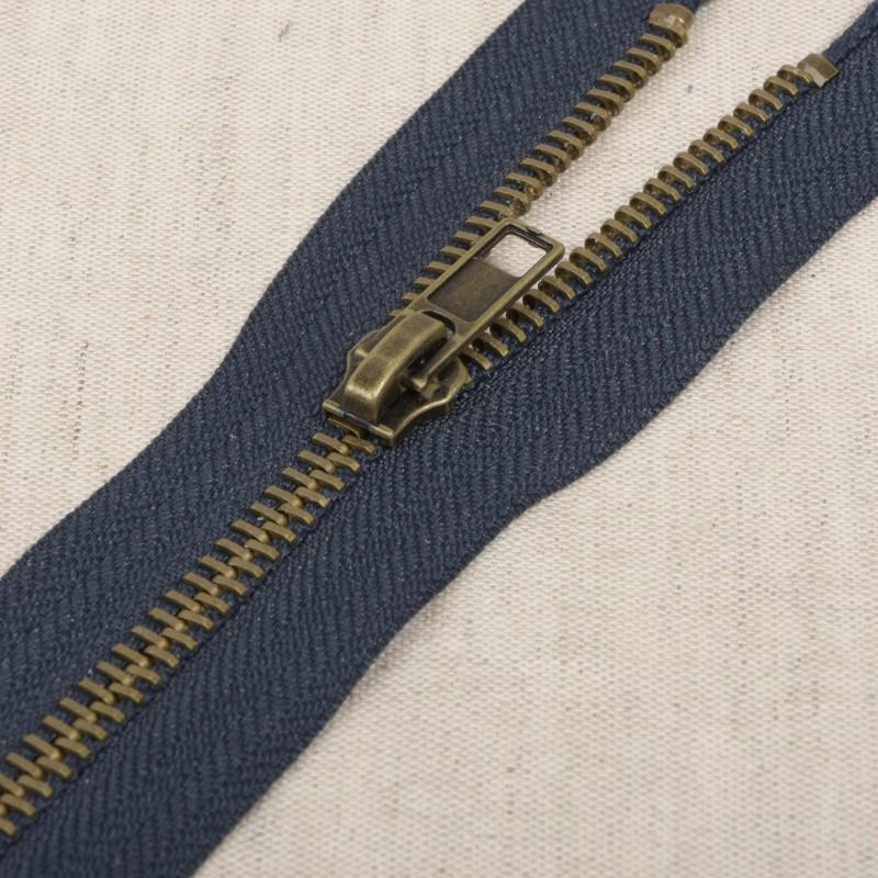 Fermeture séparable métal bronze 75 cm Bleu