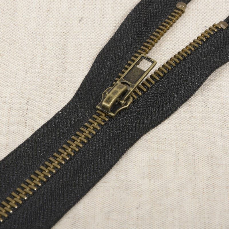 Fermeture séparable métal bronze 75 cm Noir