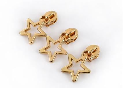 Curseur étoile doré maille nylon 5mm