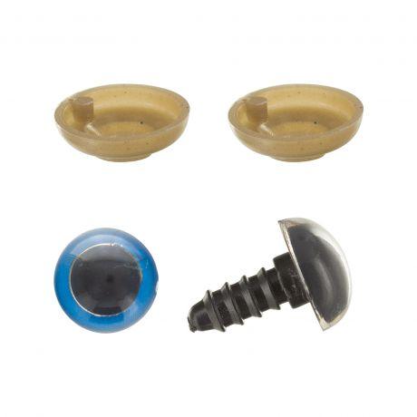 4 Yeux peluche 12mm Bleu