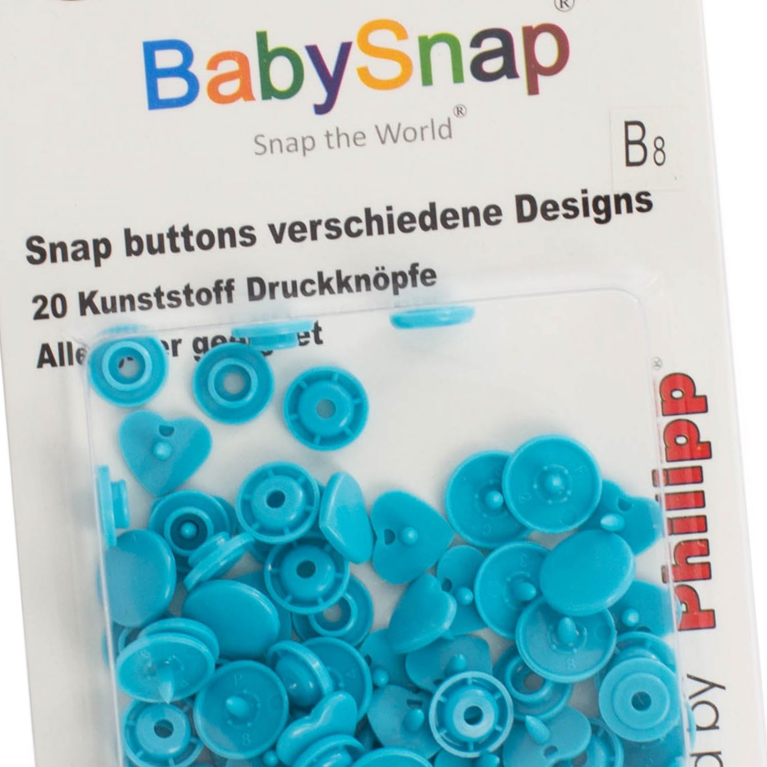 20 pressions Baby snap coeur bleu turquoise