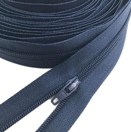 Fermeture éclair au mètre maille 3mm nylon bleu marine + curseur