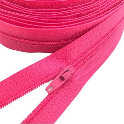 Fermeture éclair au mètre maille 3mm nylon rose+ curseur