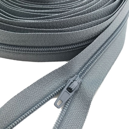 Fermeture éclair au mètre maille 3mm nylon gris + curseur