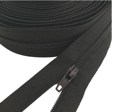 Fermeture éclair au mètre maille 3mm nylon noir+ curseur