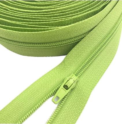 Fermeture éclair au mètre maille 3mm nylon vert clair+ curseur