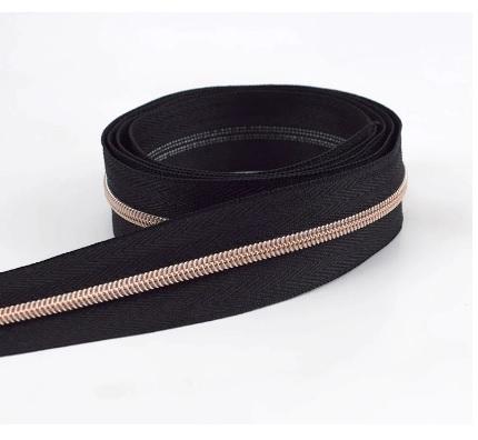 Fermeture éclair au mètre nylon 5 mm Noir et Or rose