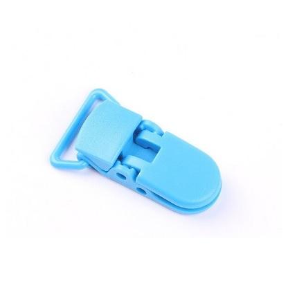 Pince attache tétine plastique Bleu turquoise