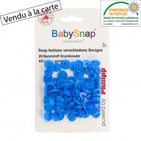 20 pressions Baby snap coeur bleu