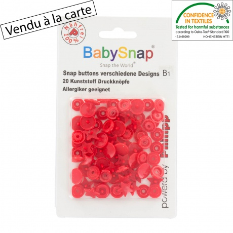 20 pressions Baby snap étoile rouge