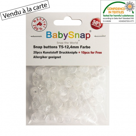 30 pressions Baby snap transparente