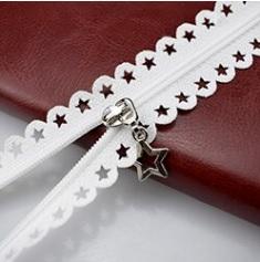 Fermeture non séparable dentelle étoile 25 cm Blanc