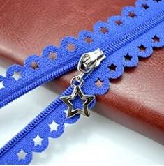 Fermeture non séparable dentelle étoile 25 cm Bleu roi