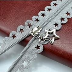 Fermeture non séparable dentelle étoile 25 cm gris