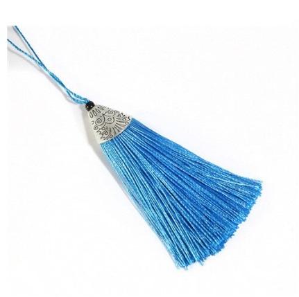 Pompon en soie de polyester attache métal Bleu clair