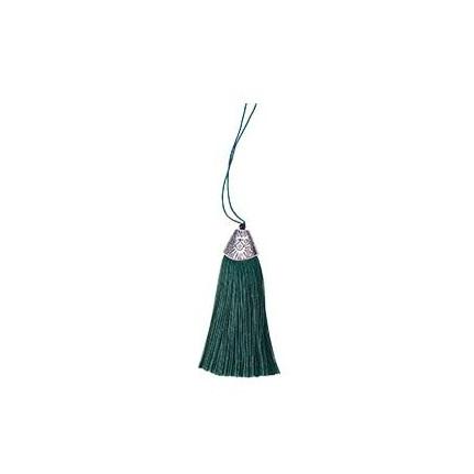 Pompon en soie de polyester attache métal Emeraude