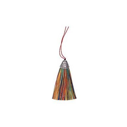 Pompon en soie de polyester attache métal Multicolore