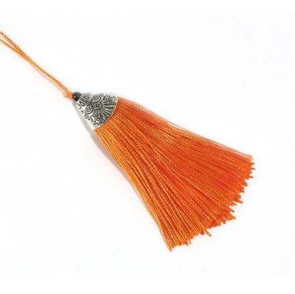Pompon en soie de polyester attache métal Orange