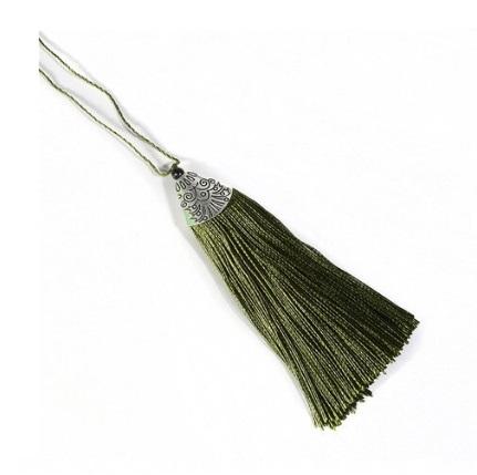 Pompon en soie de polyester attache métal Vert Olive