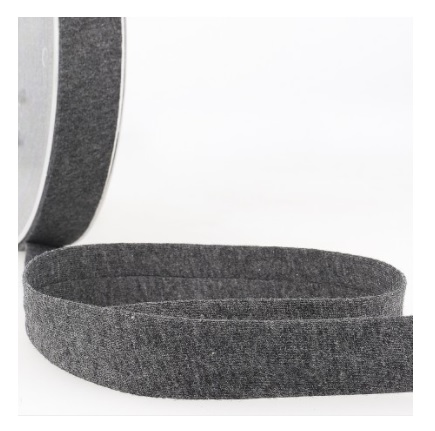 Biais jersey 20 mm gris foncé