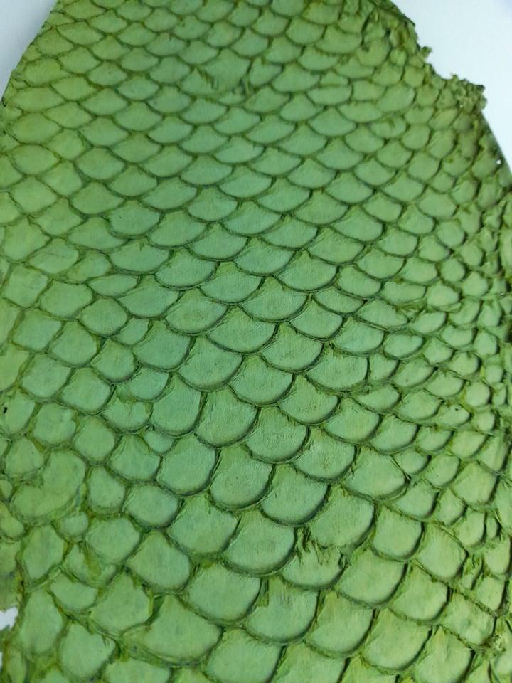 Cuir de poisson petite peau saumon verte