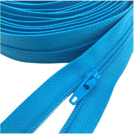 Fermeture éclair au mètre maille 3mm nylon turquoise+ curseur