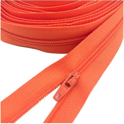 Fermeture éclair au mètre maille 3mm nylon orange+ curseur