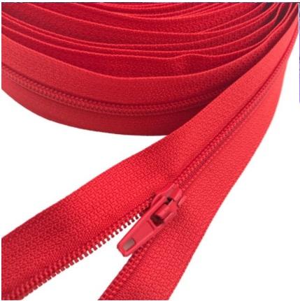 Fermeture éclair au mètre maille 3mm nylon rouge+ curseur