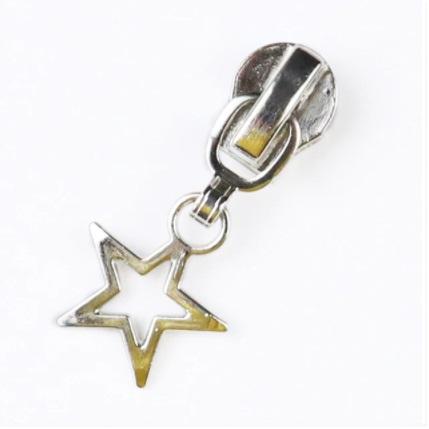 Curseur étoile ajourée pour fermeture métallique #5 Argent
