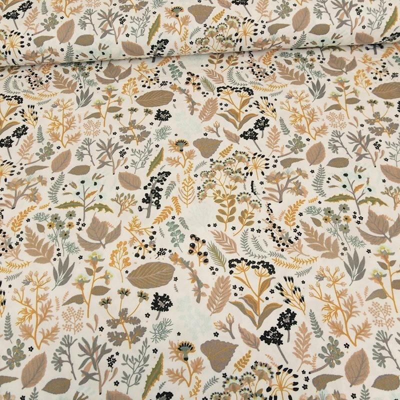 Tissu popeline de coton bio imprimé dessins végétaux jaune